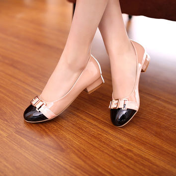 Metal Buckle Women Pumps High Heels Dress Shoes 8194