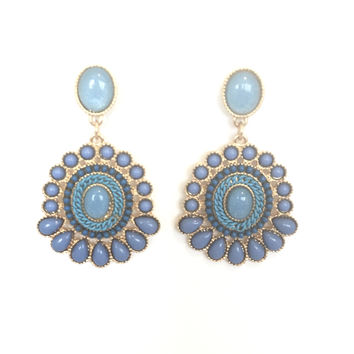 Cherese Stone Earrings In Powder Blue