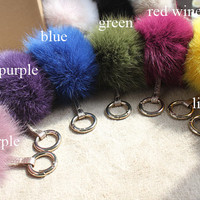Royal Blue Fox Fur Pom Pom luxury bag pendant with real leather strap circle buckle keychain bag charm accessory