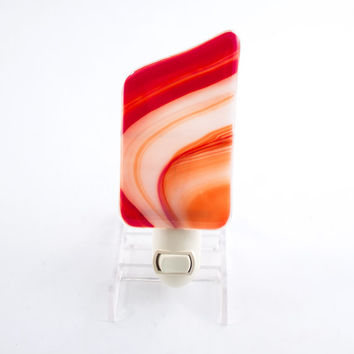 Night Light, Red and Orange Fused Glass, Swirl Design, Children's Room, Baby's Nursery, Bathroom NightLight, Decorative Style, Nite Light