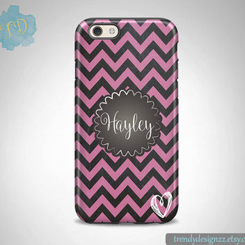 iPhone case, Personalized iPhone case iPhone 6 case 6 plus Samsung case S6 Edge S5 S4, Faux Chalkboard Pink Chevron Monogram Heart (32)