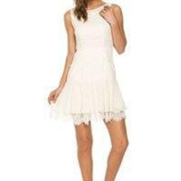 Sleeveless Baby Doll Dress With Lace Detail