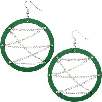 Green Wooden Zigzag Chain Hoop Earrings
