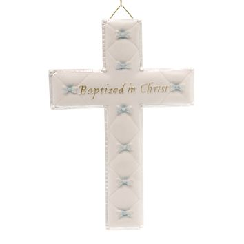 Religious Baptism Boy Wall Cross Sign / Plaque