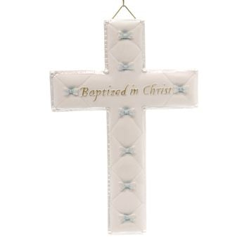 Religious BAPTISM BOY WALL CROSS Polyresin Christ Religious 42828