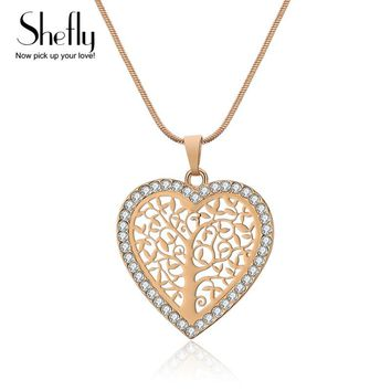 Tree Of Life Pendant Necklace For Women Love Heart Jewelry CZ Crystal Pendants & Necklaces Rose Gold Color Wedding Party Gift