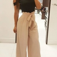 Khaki Sashes Bow Pockets Pleated Wide Leg Peplum Going out Casual Long Pants