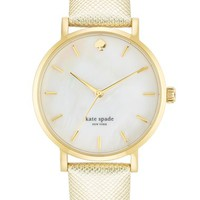 Women's kate spade new york 'metro' metallic leather strap watch, 34mm