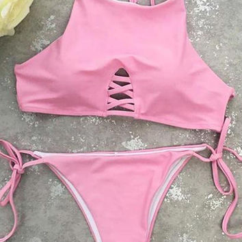 Cupshe Hot Pink Cross Bikini Set