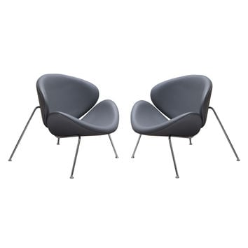 Set of (2) Roxy Accent Chair with Chrome Frame - GREY