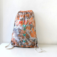 Hand Marbled  Summer Backpack, cotton tote, beach bag, gym bag , bike bag,  Orange Grey Floral tote
