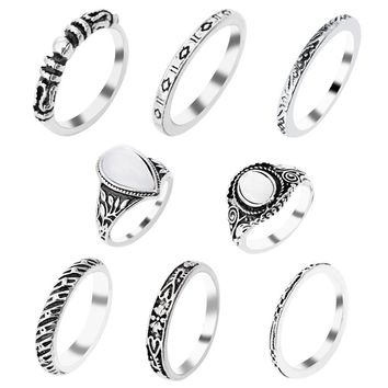 8 Pcs/Set Silver Color Flower Midi Ring Sets For Women Boho Beach Vintage Turkish Punk Elephant Knuckle Ring