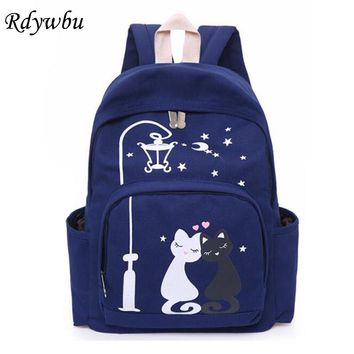 Rdywbu 3D Printing Cats Love Stars Night Light Women's Casual Backpack Small Fresh Canvas Travel Bag Girls Schoolbags H144