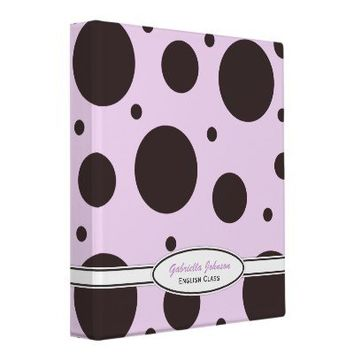 Personalized: Pink & Brown Polka Dot Binder 3 from Zazzle.com