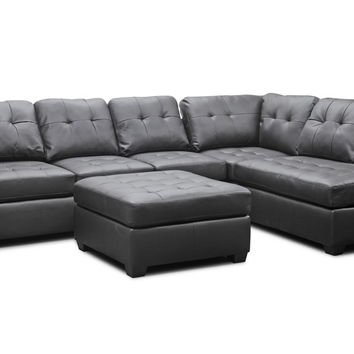 Opentip.com: Baxton Studio Mario Brown Leather Modern Sectional Sofa with Ottoman