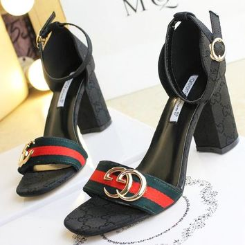 GUCCI Women Buckle Leather Heels Shoes Black