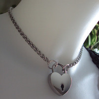 Stainless Steel Wheat Chain Collar with Heart Padlock BDSM Fetish Jewelry Kink Bondage