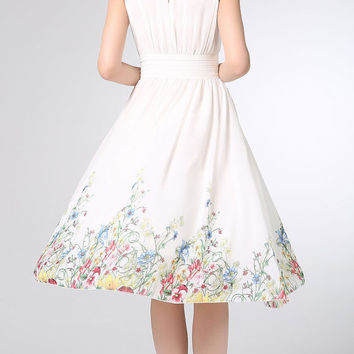 White prom dress chiffon dress midi women dress bridesmaid dress (1204)