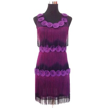 Women Beaded Fringe Scalloped Petal Gatsby Flapper Dress Costume Tiered Tassels Appliques Flower Summer Party Dress