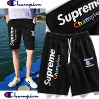 Supreme x Champion joint men and women new rainbow letter casual shorts F0575-1