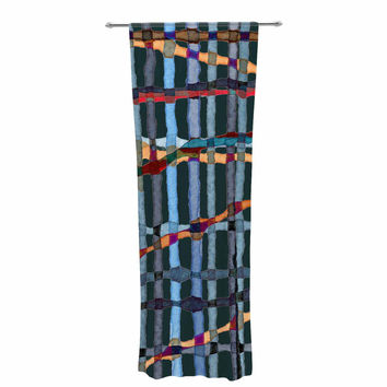 "Patternmuse ""Midnight Bamboo"" Multicolor Blue Painting Decorative Sheer Curtain"