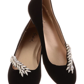 She Sparkles at Midnight Black Ballet Flats