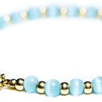 Benevolence LA 14k Gold Bracelets for Women Turquoise Bracelet Water Drop Aqua Cat Eye Charm Glass Beads Fashionable Handmade Crystal Jewelry for Giving Back