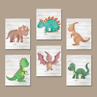 Watercolor DINOSAUR Nursery Decor, DINOSAUR Wall Art, Dinosaur Wall Decor, T- Rex Big Boy Room Pictures, Canvas or Print Set of 6 Dinosaurs