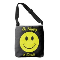 Yellow Smiley Face Be Happy and Smile Tote Bag
