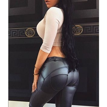 2017 arrival Spring Autumn Nap Fabric Peach hip push up PU leather leggings booty pant for women black hot stern