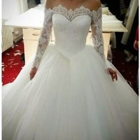 Modest Wedding Dress Long Sleeves Bridal Dress Ball Gown Custom Size 0 2 4 6 8