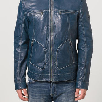 Men's blue Biker leather jacket, quality pure leather jacket, men real leather jacket,men biker leather jacket