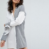 Boohoo Mix Stripe Shirt Dress at asos.com