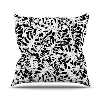"Julia Grifol ""White Leaves"" Throw Pillow"
