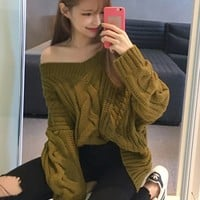 Green V-neck Cable Knit Sweater