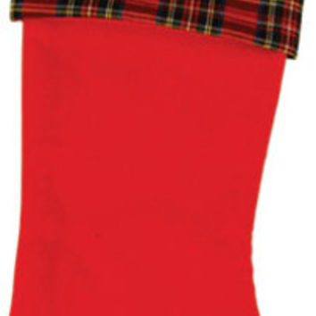 Plaid Pattern Felt Christmas Stocking Case Pack 36