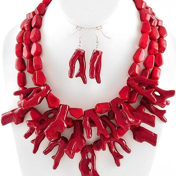 Red Coral Branch Necklaces - Coral Reef Necklace - Layered Necklace - Coral Necklace - Statement Necklace - Red Necklace