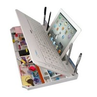 Bluetooth 6 in 1 Keyboard and Organizer with Tablet Stand Rest Color: White