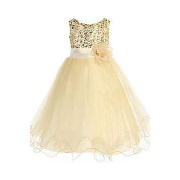 Girls Gold Sequin Party Dress w. Lettuce Tulle 16-20 Plus