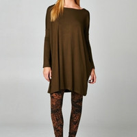 TWO LEFT Olive Dolman Long Sleeve Tunic