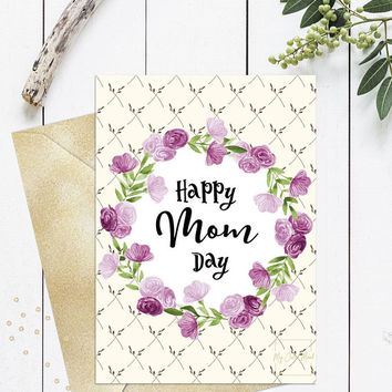 Happy mothers day mom card printable, Happy mom day card, Floral purple pretty mothers day card for mom, 5x7 one sided card & folded card
