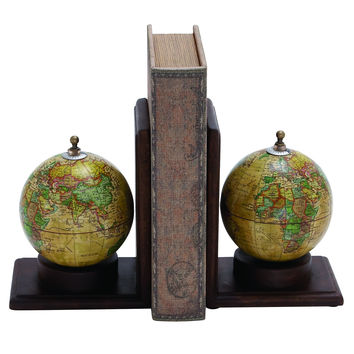 Contemporary Wooden And Metal Globe Bookend With Simple Design