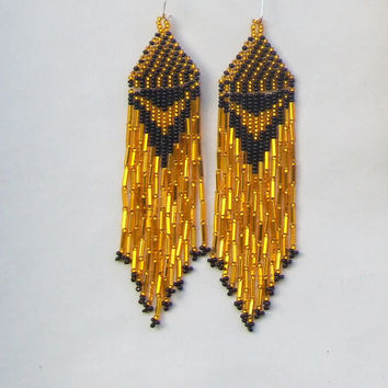 Native American Earrings  Inspired.  Black Yellow Earrings. Dangle  Earrings.Long Earrings.  Beadwork.
