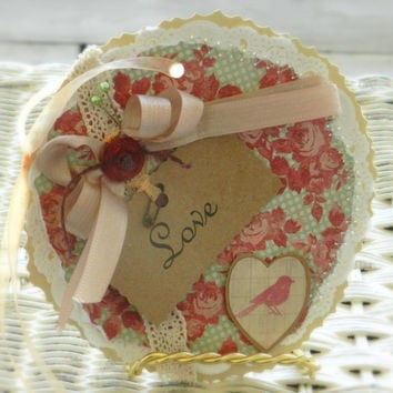 shabby gift tag cottage style wedding tag large gift tag handmade red turquoise roses romantic lace love bird