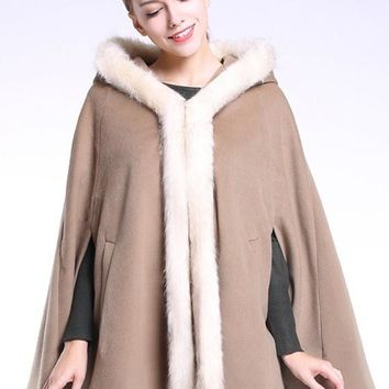 Khaki Patchwork Pockets Fur Collar Hooded Cape Wool Coat