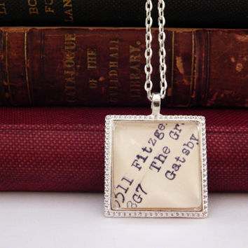 Silver Great Gatsby necklace, book inspired necklace, library jewelry, Gatsby jewelry, book lovers jewelry, bookworm gift, librarian jewelry