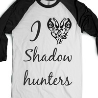 I heart Shadowhunters-Unisex White/Black T-Shirt