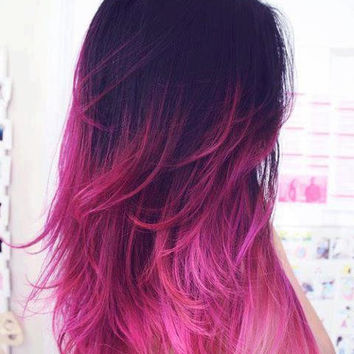Ombre//Dip Dye//Black Fading into Vibrant Pink//Clip In Human Hair/(7 Pieces), 22""