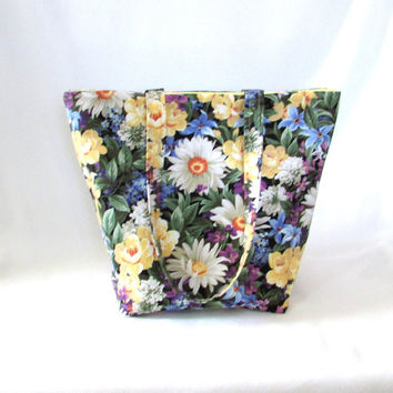 Floral Garden Tote Bag, Cloth Purse, Handmade Handbag, Daisy Flowers, Purple, Yellow, Green, Fabric Bag, Shoulder Bag