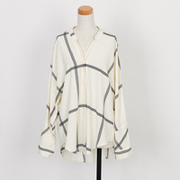Long Sleeve Chiffon Window Pane Check Blouse